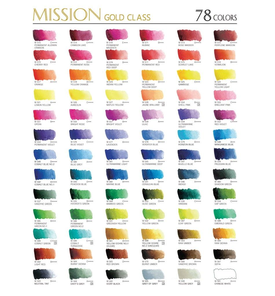 Mission Gold Watercolor Set 12 Colors Professional Grade Paint