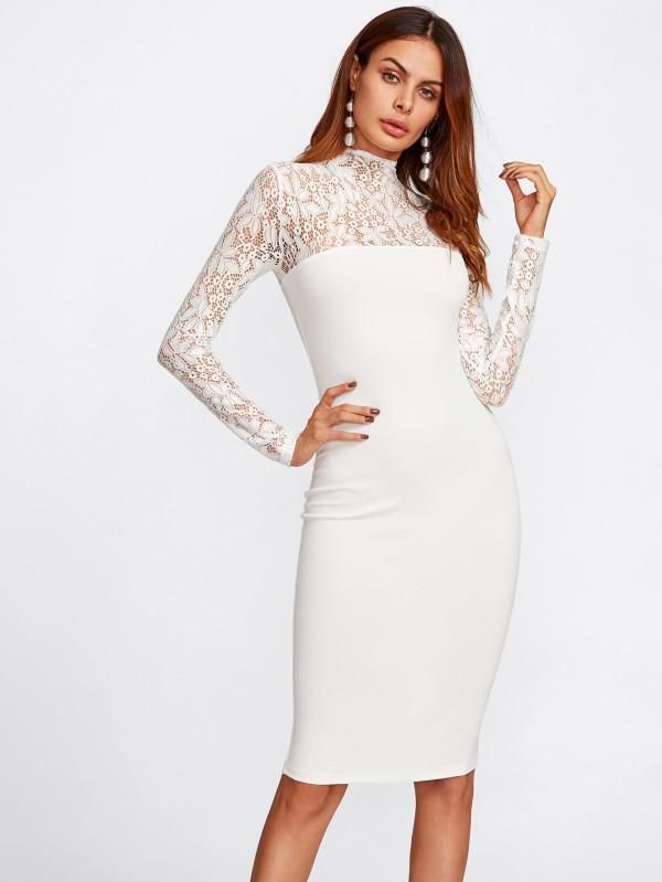 e096314df57 White Floral Lace Yoke And Sleeve High Neck Long Sleeve Form Fitting ...