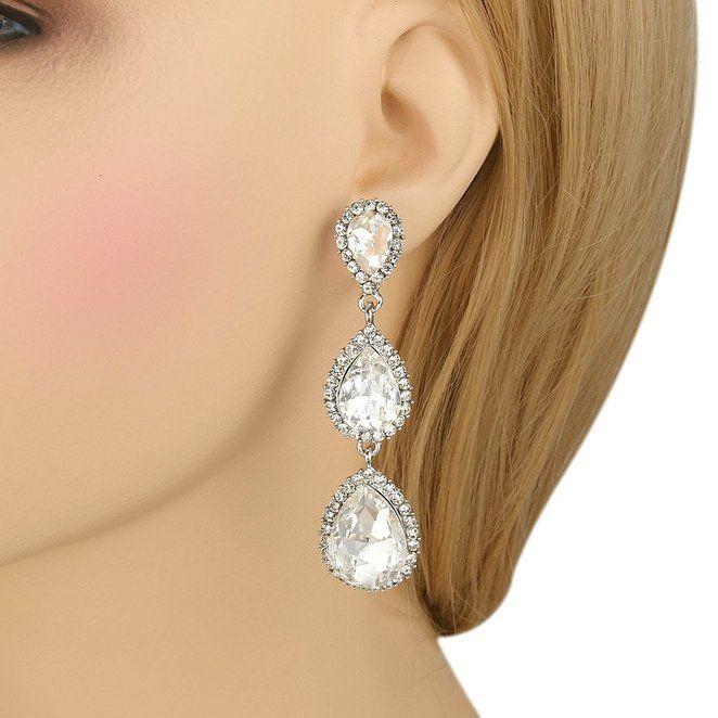 fe04abf3a Amazon.com: EleQueen Women's Silver-tone Austrian Crystal Tear Drop Pear  Shape Long Earrings Clear: Jewelry