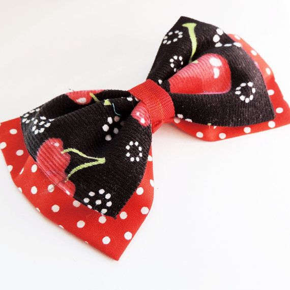 Cherry Pin up style Hair Clip. Retro Hair Clip by RockabellasClothing. One of a kind and only $8! A must have! Click to know more about Rockabella's amazing Pinup line.