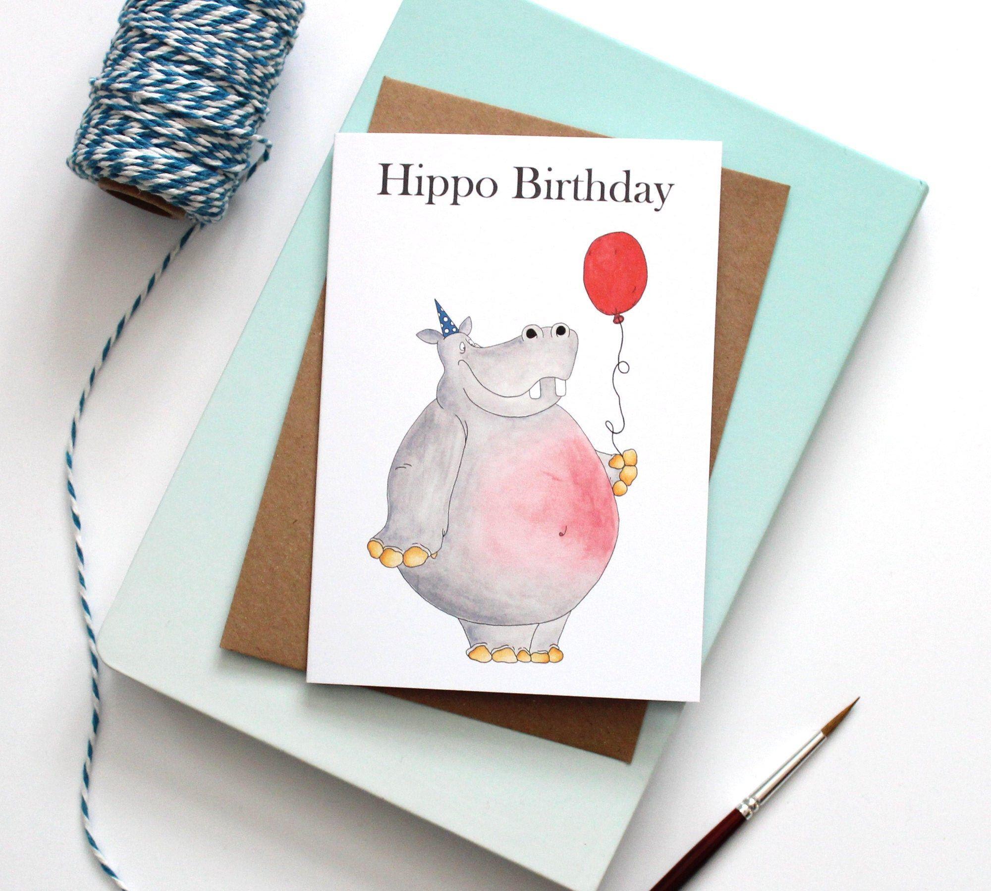 Hippo Birthday Birthday Card Pun Greeting Card Happy Etsy Birthday Card Puns Happy Birthday Greeting Card Birthday Cards