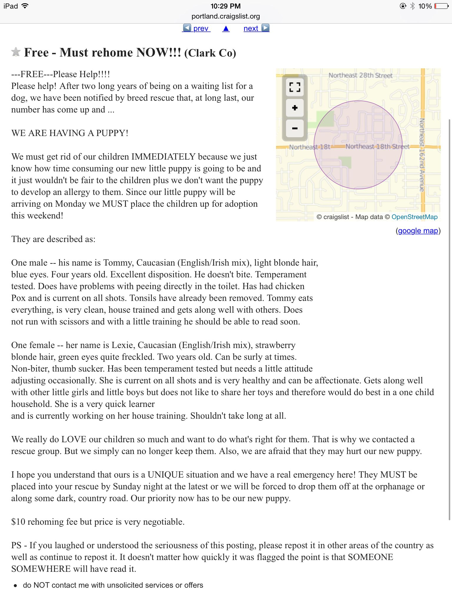 Craigslist ad for kids funniest thing must read