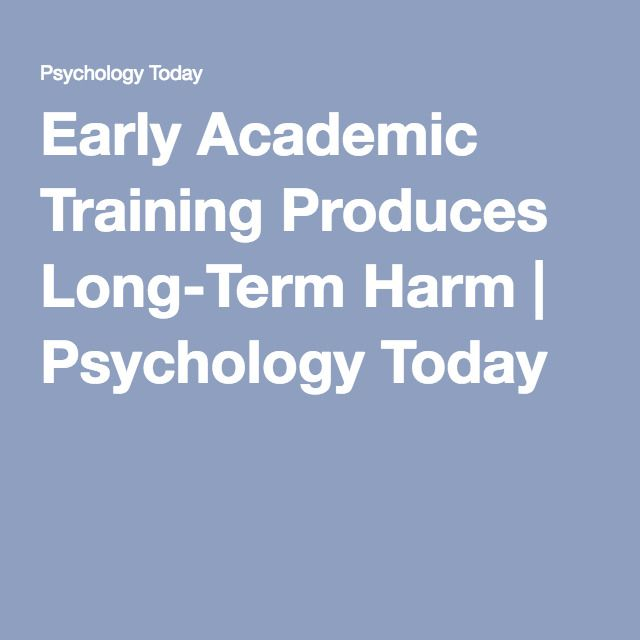 Early Academic Training Produces Long >> Pinterest