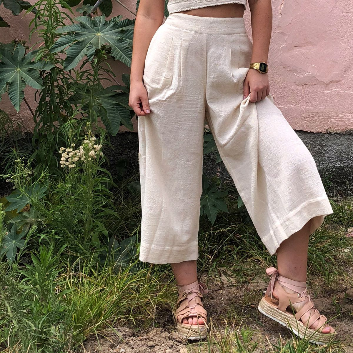 4aacb489c Calça Pantacourt Algodão Cru | Produtos Fashion | Pants e Harem pants