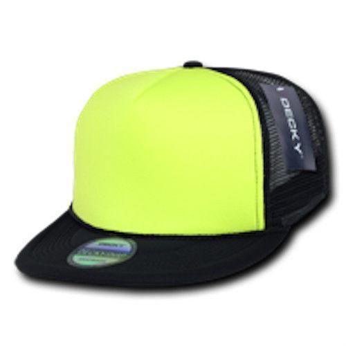 14e1106233d Decky Flat Bill Neon Foam Mesh Trucker Hats Caps Snapback Two Tone Unisex