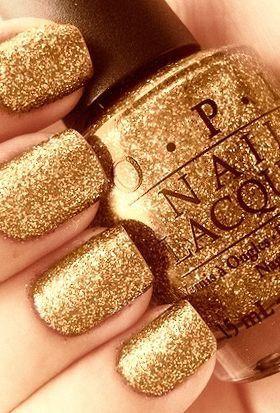 ριитєяєѕт Dominiquemae390 Gold Glitter Nails Nail Polish