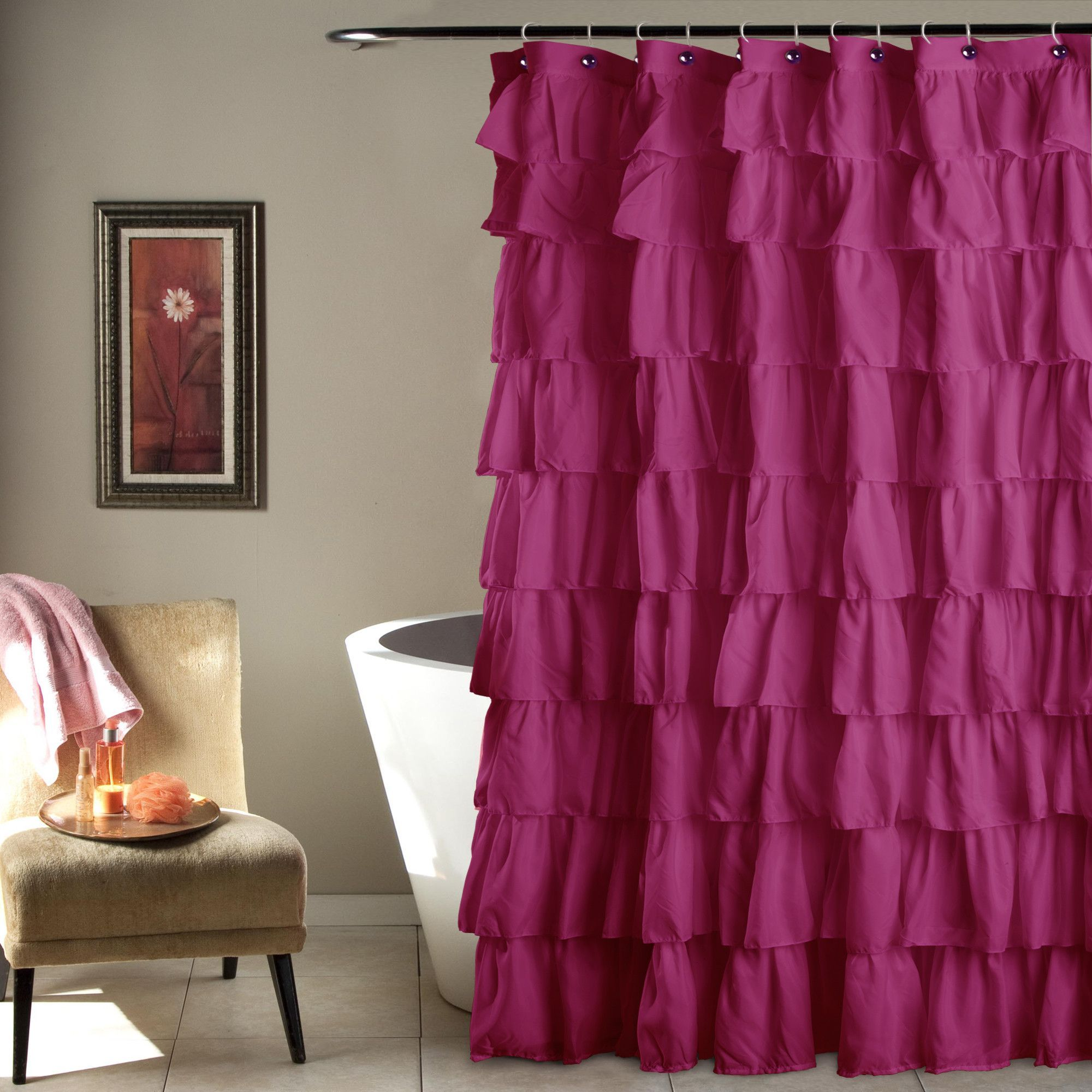 Ruffle shower curtain in microfiber has overlapping ruffles