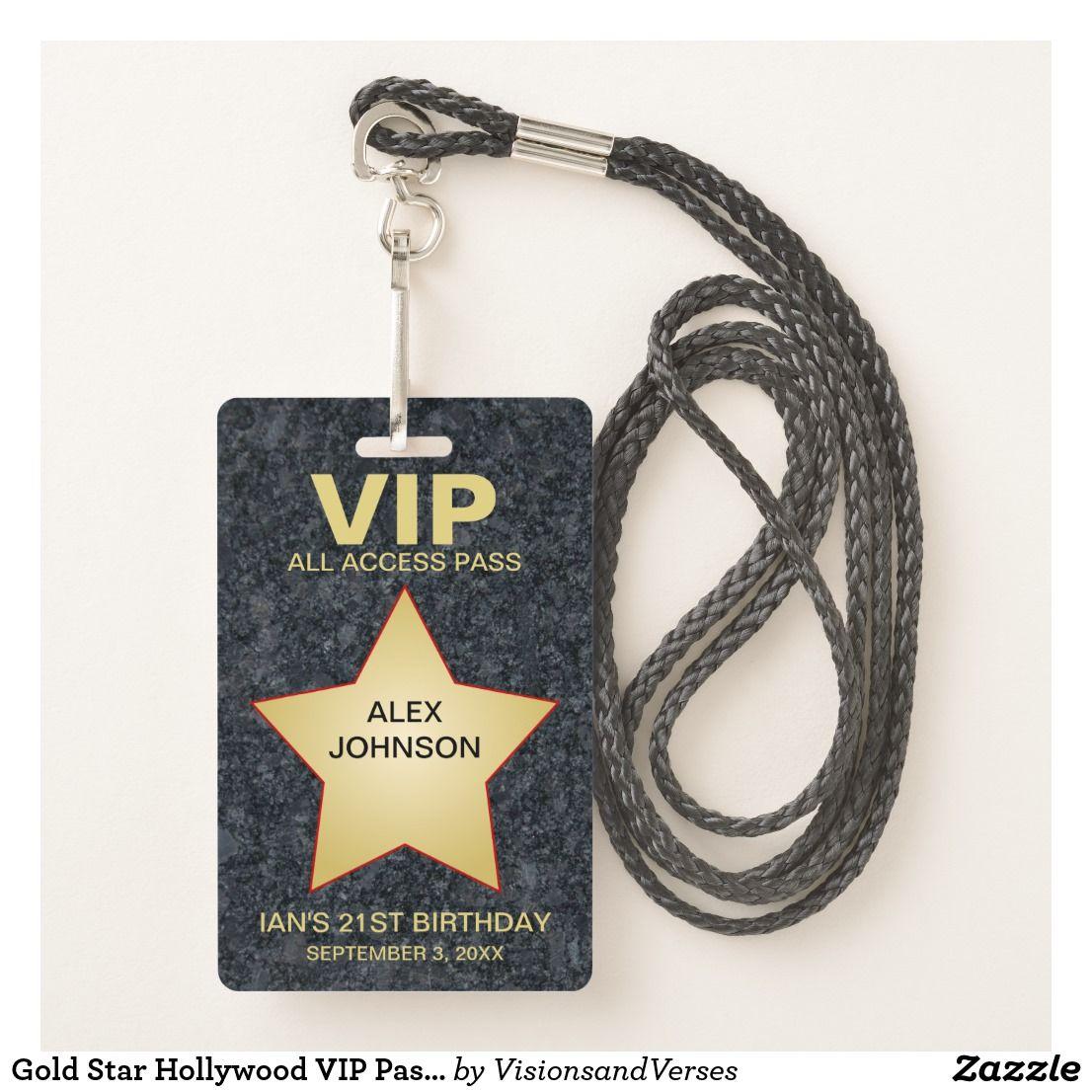 Gold Star Hollywood VIP Pass Party Favor Badge | Zazzle.com #hollywoodstars