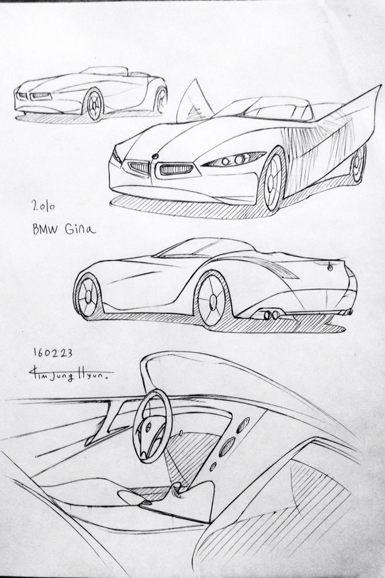 Car drawing 160223.  2008 BMW Gina.  Prisma on paper.  Kim.J.H