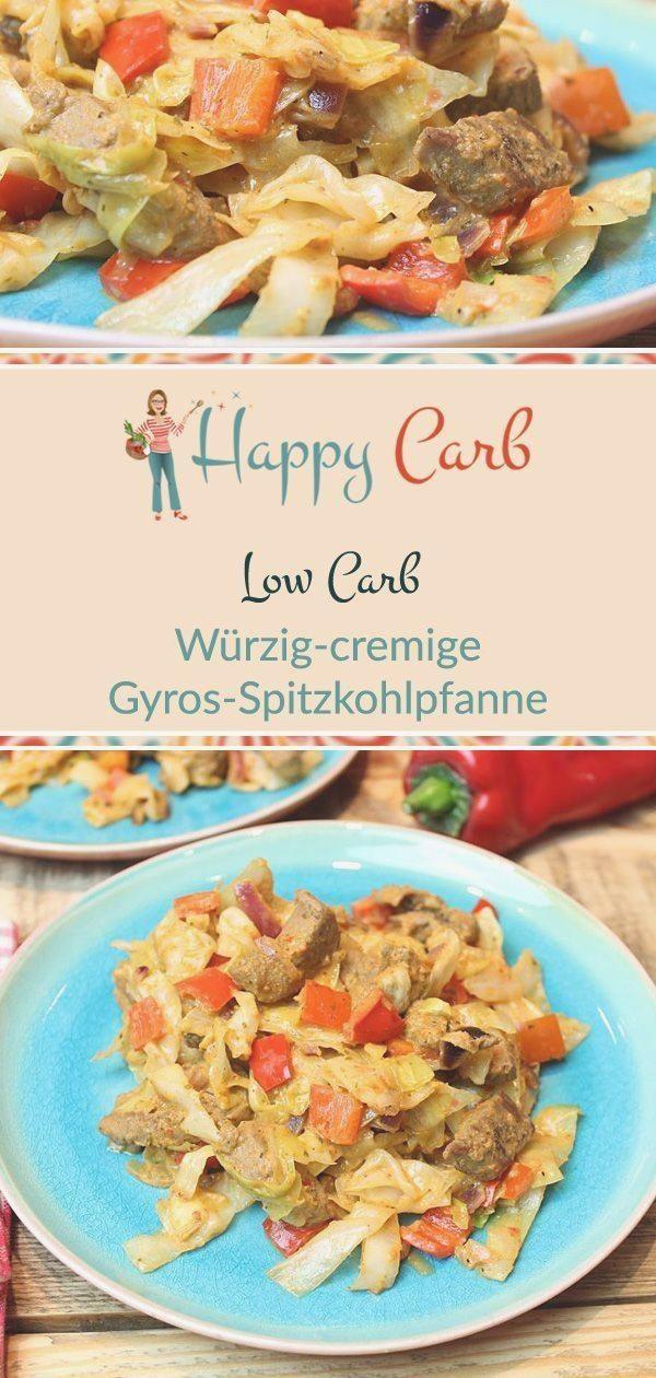 Würzig cremige Gyros Spitzkohlpfanne   Happy Carb Rezepte #abendessen #deutsch #fitness #fitnessaben...