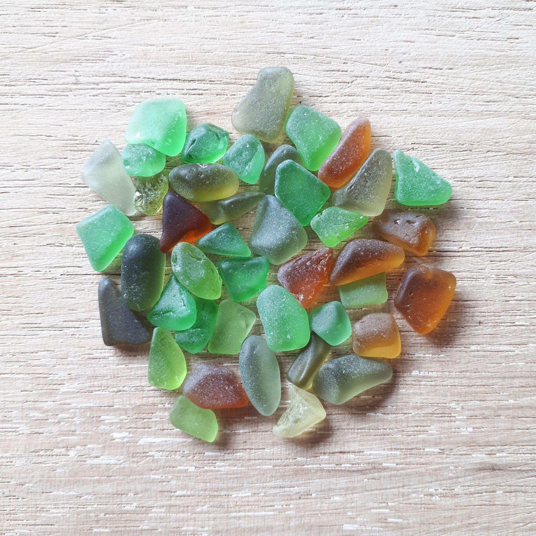 40 pcs small real sea glass multicolored genuine