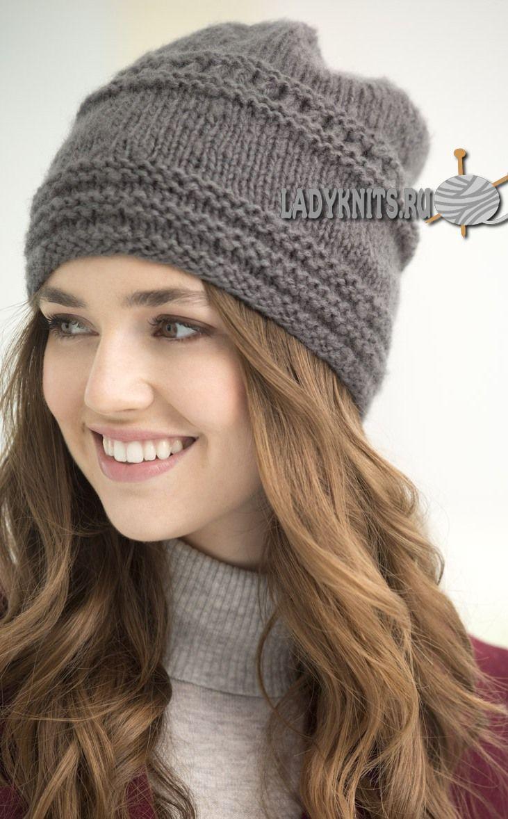 вязать спицами схема рисунка для женской шапки