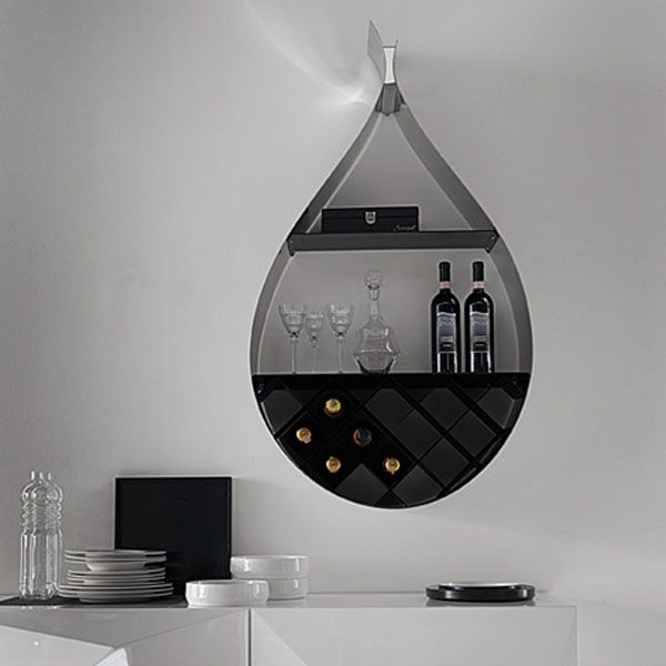 Drop Shaped Contemporary Wall Wine Rack 1 Modern Wine Rack With A
