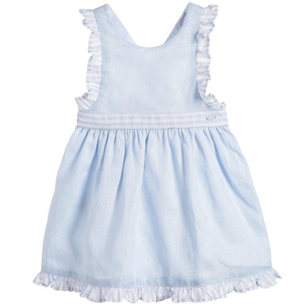 6e2a89284c Tutto Piccolo Pale Blue Linen Pinafore Dress with Knickers at  Childrensalon.com