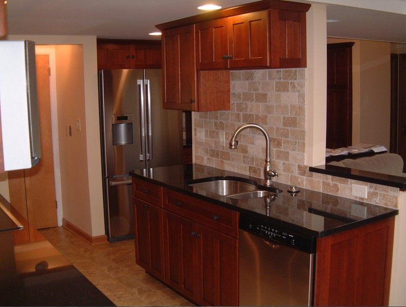 Kitchen Backsplash Tile Cherry Cabinets dark brown cabinets with black countertops - google search
