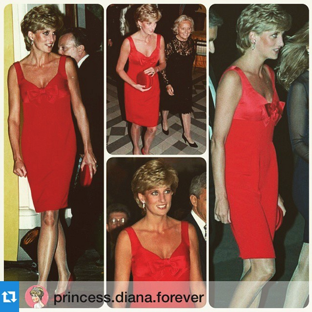 Back to 1995 with the Princess of hearts, Lady Diana. On an official visit to Paris, at the Petit Palais, she wore a Christian Lacroix red silk cocktail dress. So daring and chic!