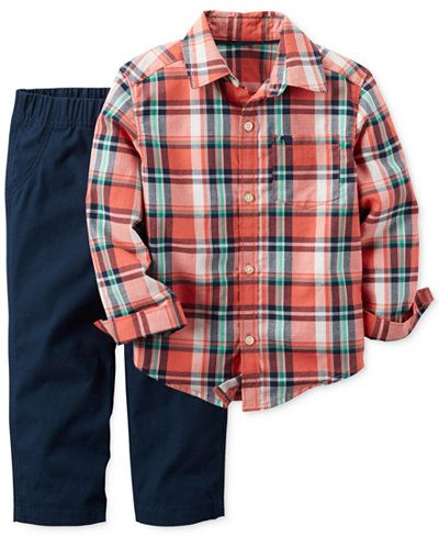f6b8d08a Carter's makes coordinating dressing a snap with this plaid shirt and  pull-on pants duo. | Cotton | Machine washable | Imported | Includes 2  pieces: shirt ...