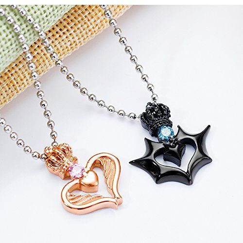 6086446c96 Amazon.com: Fashion Ahead 2pcs Matching His and Hers Couple Necklaces  Stainless Steel CZ Crystal Crown Hook Angel and Bat Wings Love Heart Pendant  ...