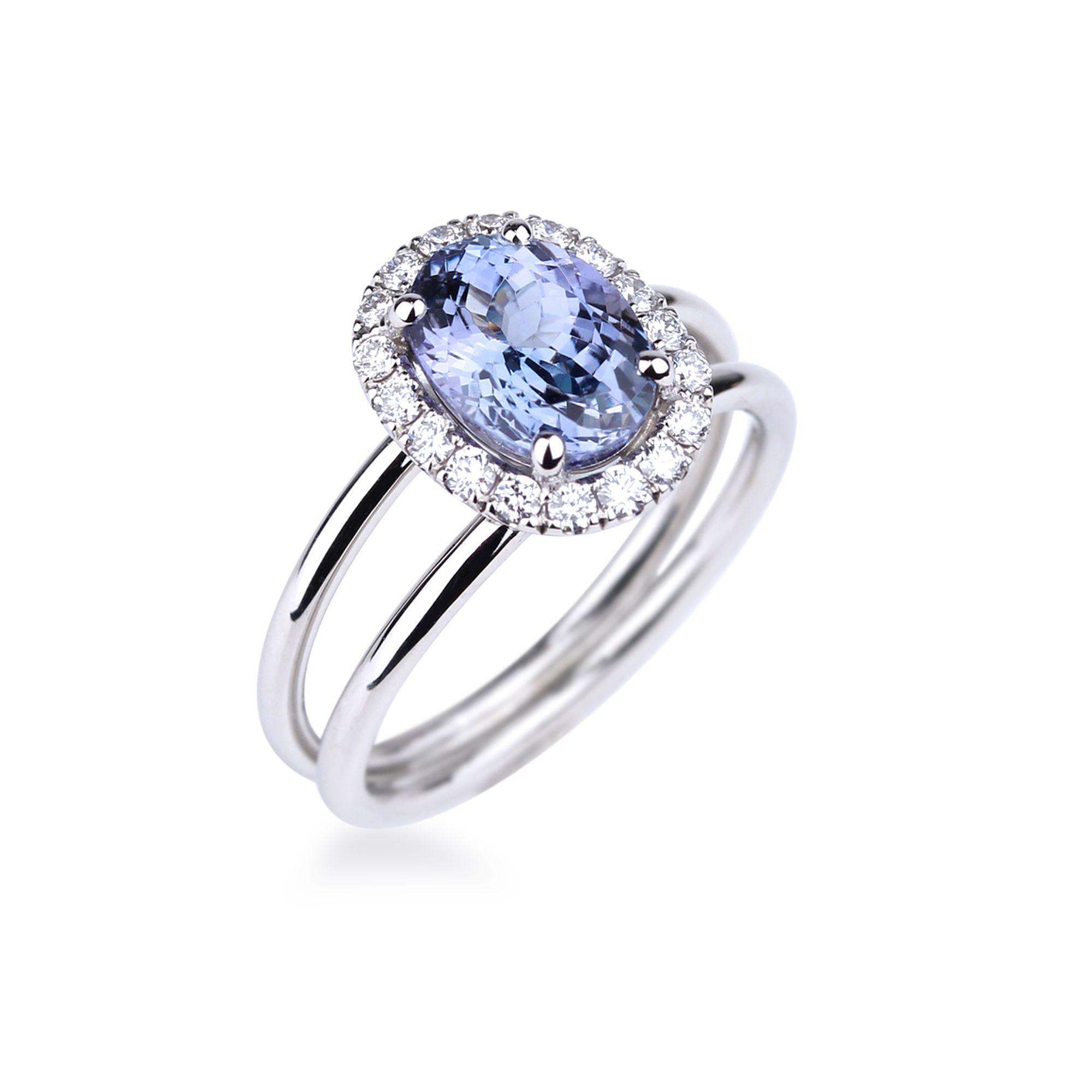 14Kt Or Blanc Tanzanite /& Diamant Ovale Bague