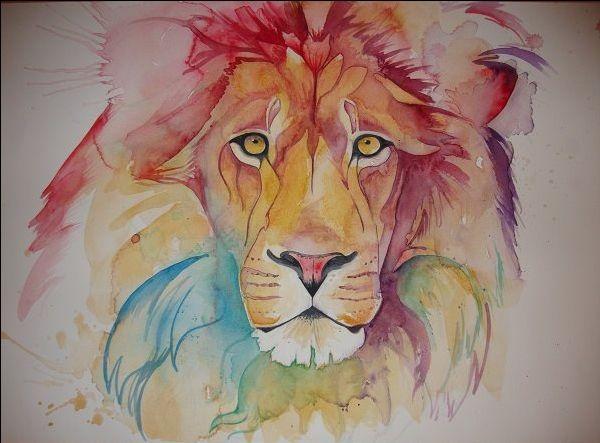 Rainbow lion art leão aquarela aquarela tatuagem leão