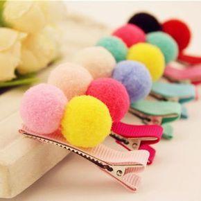 10 PCS Fita de Gorgorão Jacaré Presilhas Grampos de Cabelo Colorido Hairpin Fluffy Balls Segurança Do Bebê Meninas arco de Cabelo #babyhairaccessories