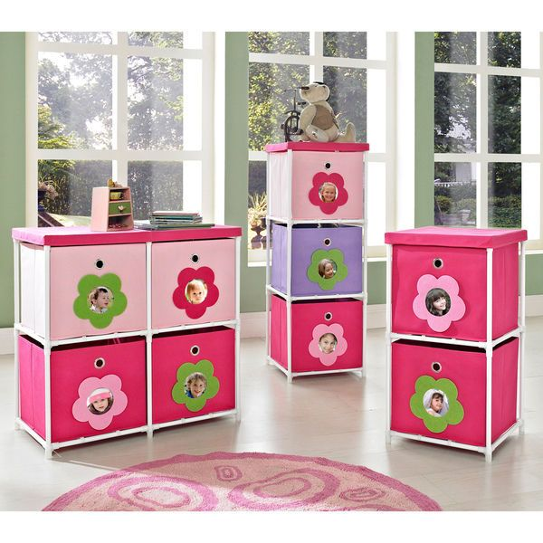 Pink Storage Bins S Flower Drawers Chest Dresser Bedroom Furniture Toy Box