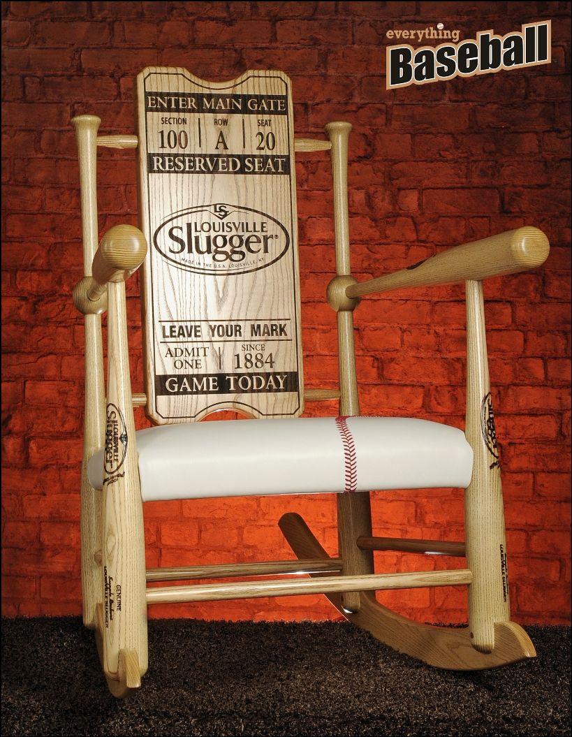 Excellent Original Custom Made Genuine Baseball Bat Rocking Chair Inzonedesignstudio Interior Chair Design Inzonedesignstudiocom