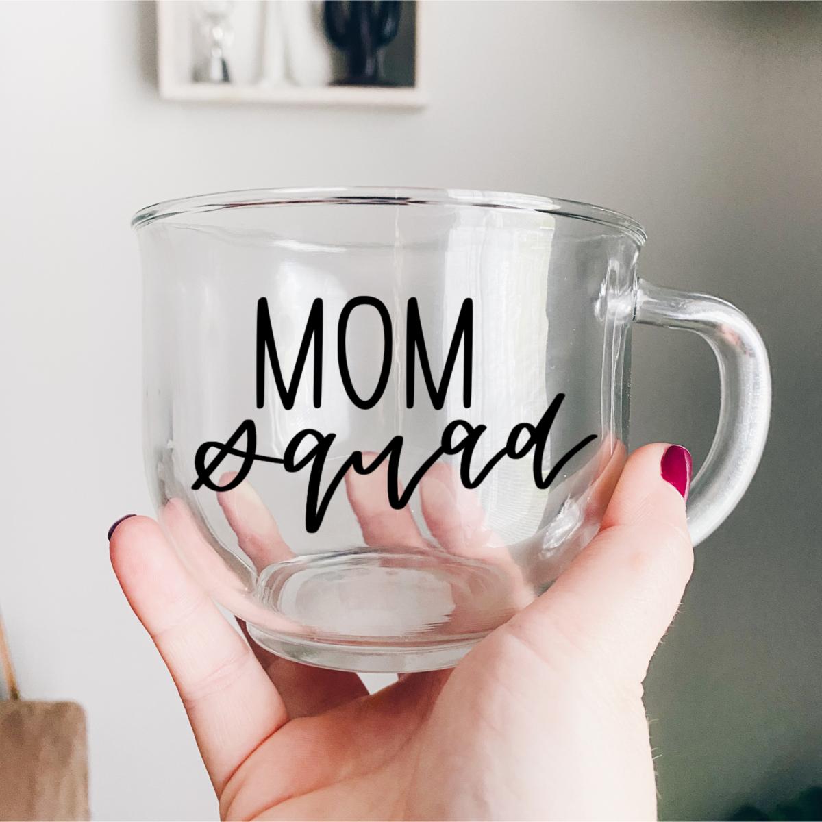 Mom Squad Glass Coffee Mug In 2020 Glass Coffee Mugs Unique Coffee Mugs Mugs