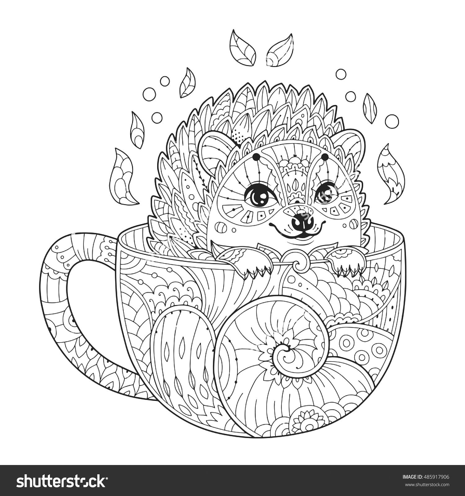 Hedgehog In A Tea Cup Animal Coloring Pages Mandala Coloring Antistress Coloring