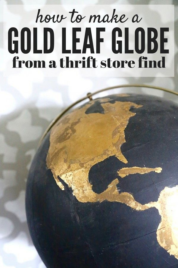 globe terrestre peinture noire et feuille d 39 or diy. Black Bedroom Furniture Sets. Home Design Ideas