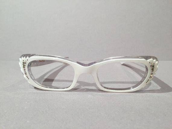 Womens White Cat Eye Eyeglasses Frames with Rhinestones, New Old ...