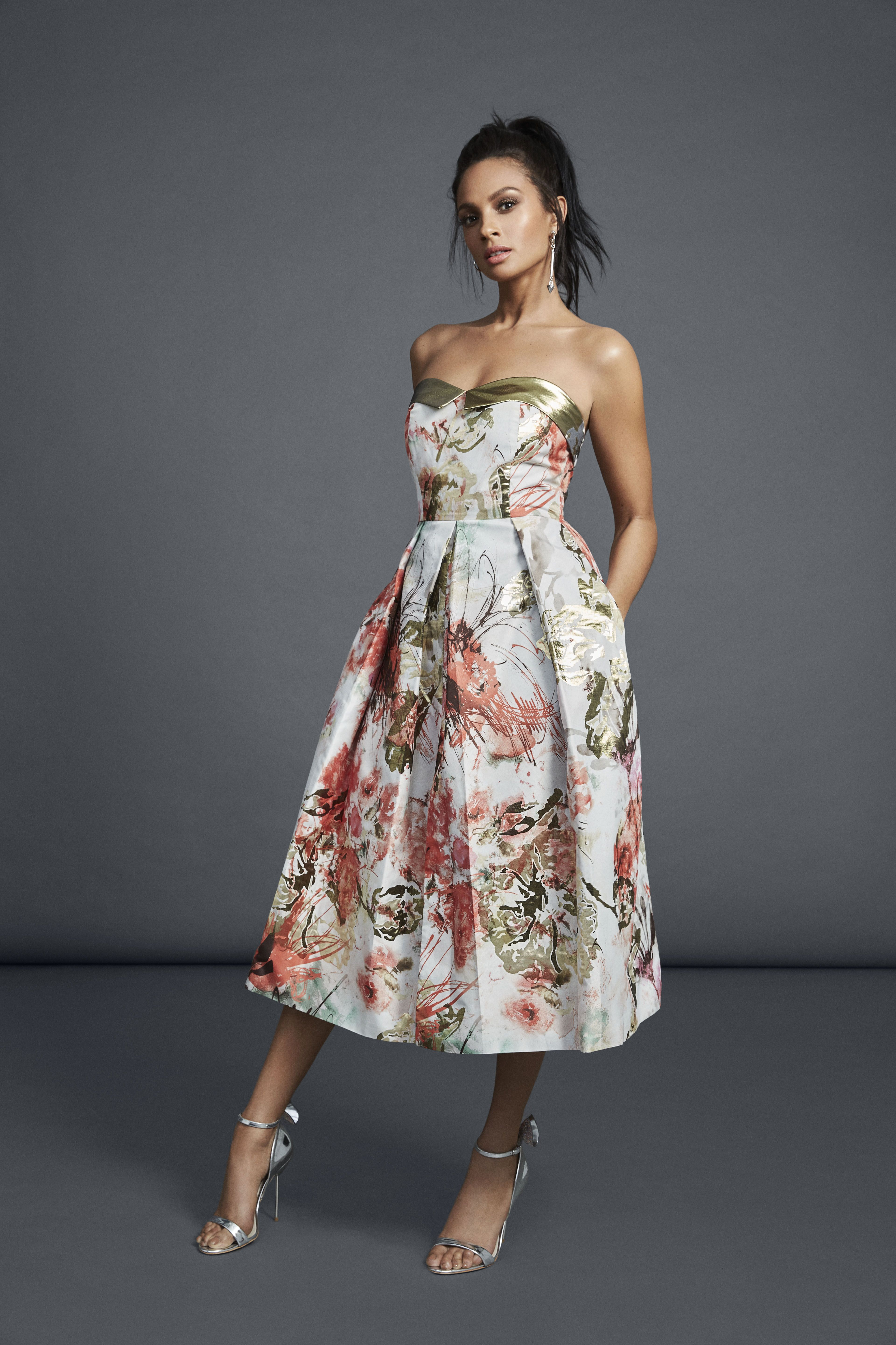 Alesha Dixon SS17 Collection Strapless Floral Midi Dress in Coral ...