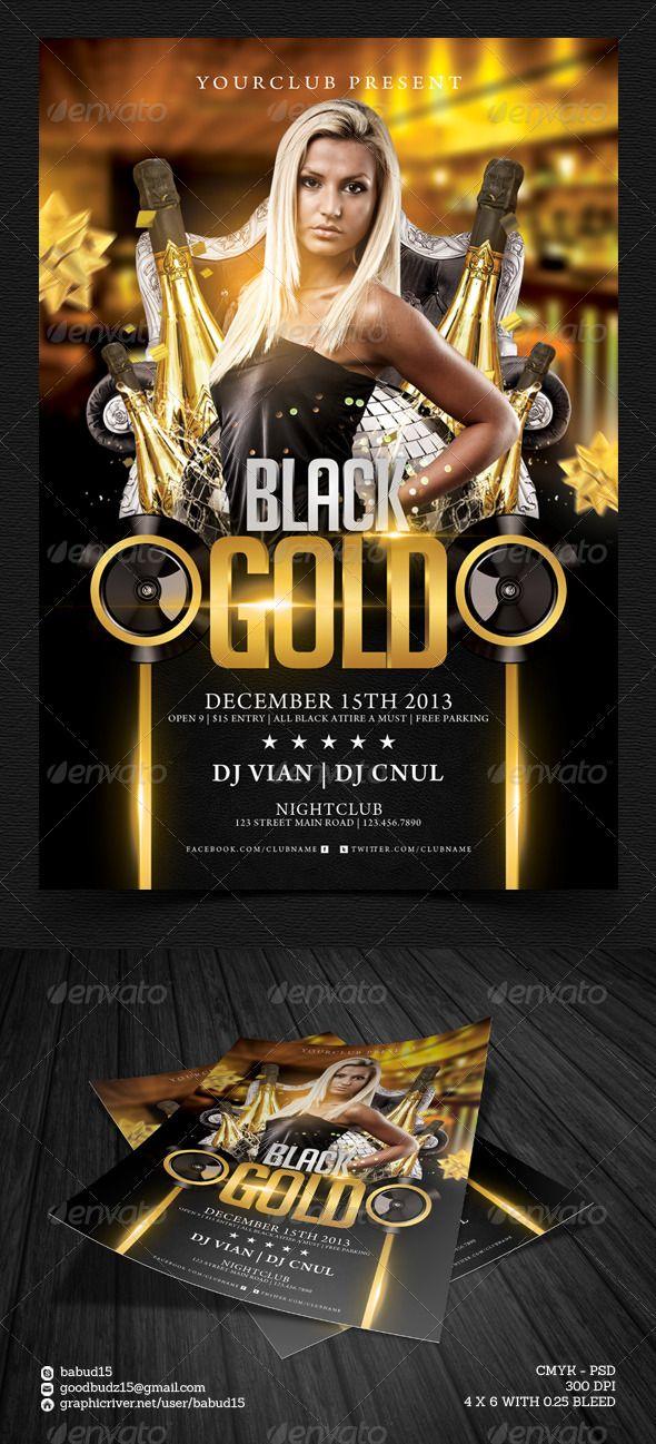 Black Gold Flyer Template Pinterest Flyer Template Black Gold