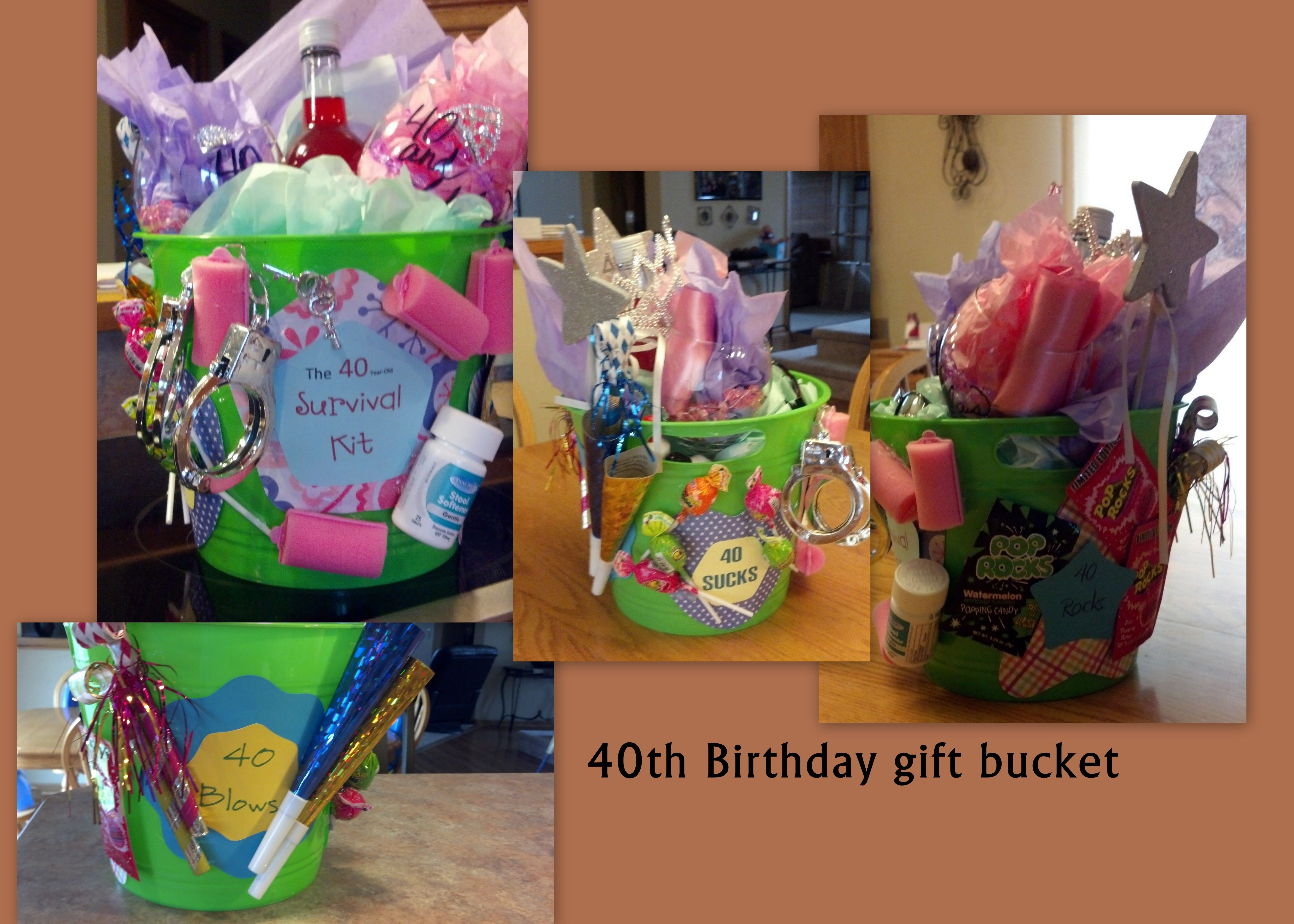 40Th Birthday Bucket Filled With Gag Gifts