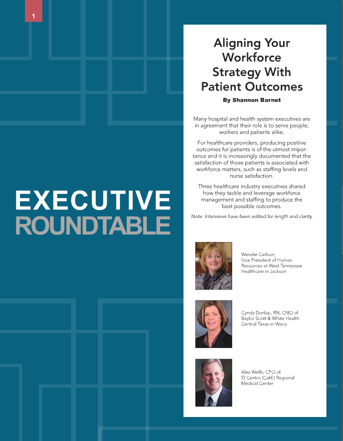"Healthcare industry executives, CFO, CNO and VP of HR, share how they tackle and leverage workforce management and staffing to produce the best possible outcomes. Learn what they said by downloading the executive roundtable ""Aligning Your Workforce Strategy with Patient Outcomes"" from Becker's Hospital Review."