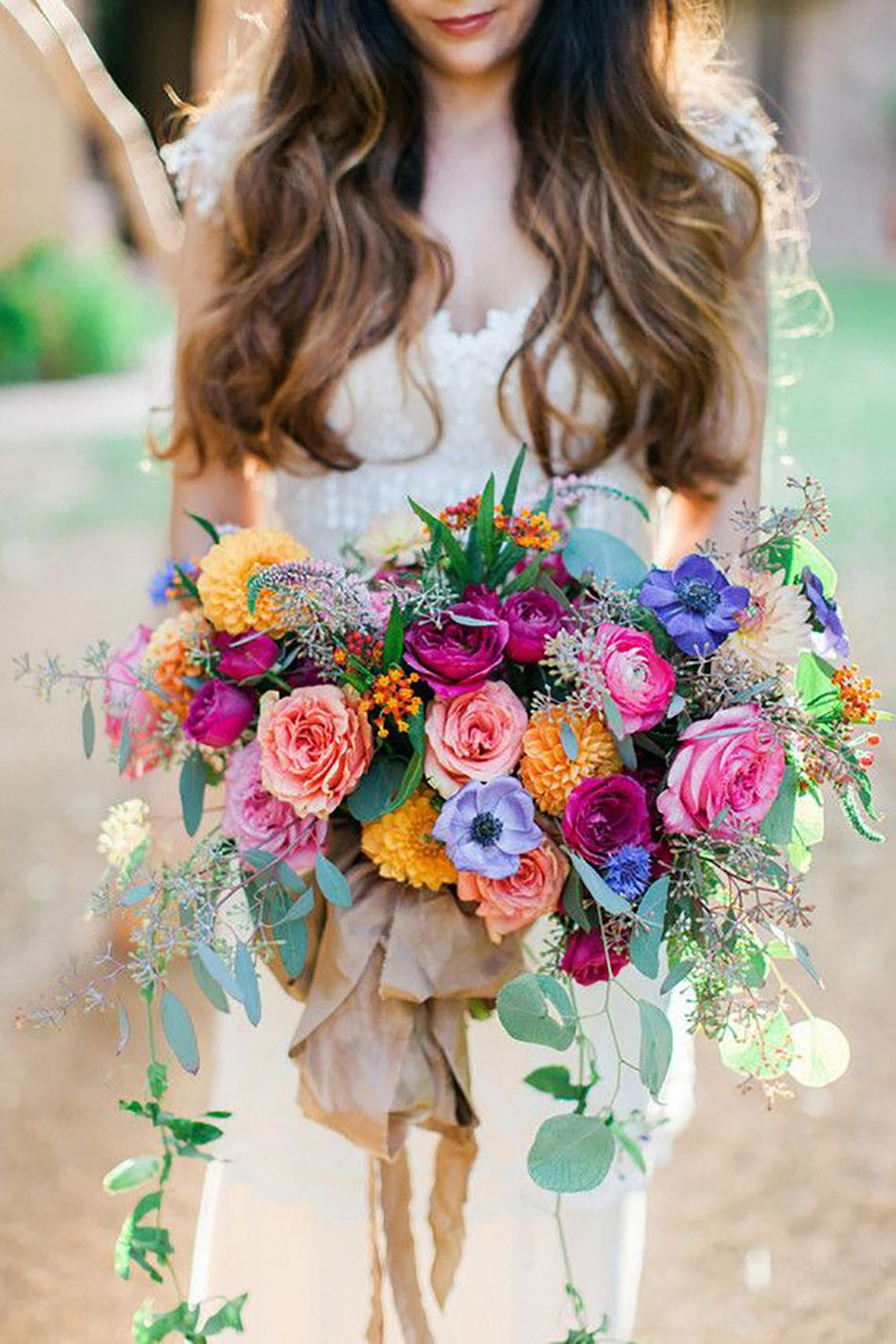 Colourful Wedding Bouquet With Wild Flowers