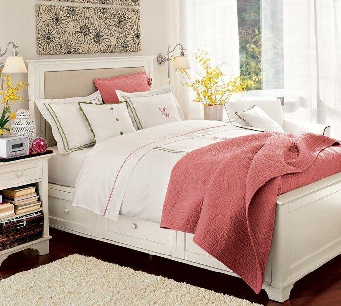 Ikea Schlafzimmer Modern Eingerichtet  Weißes Schlafbett Rosafarbene  Überwurfdecke Deko Kissen