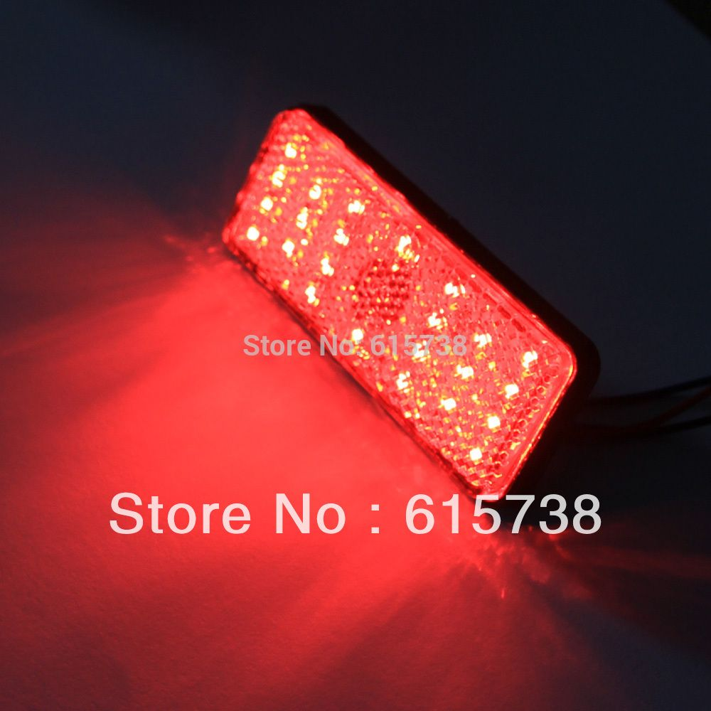Red Rectangle Light Clear Lens Led Reflectors Brake Light Universal Motorcycle Reflectors Car Lights Stop Light