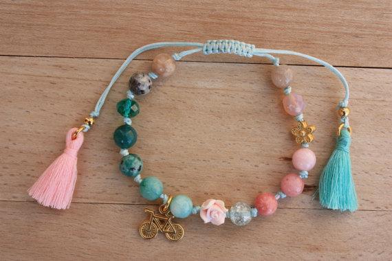 337c4d8ea9f0 Piedras preciosas pulsera Boho Bohemia pulsera por monroejewelry ...