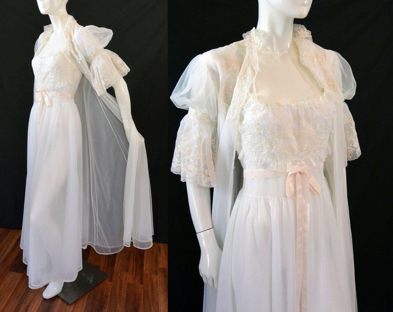 1940s 1950s Kickernick Restware Lingerie White Sheer Chiffon Peignoir Robe…