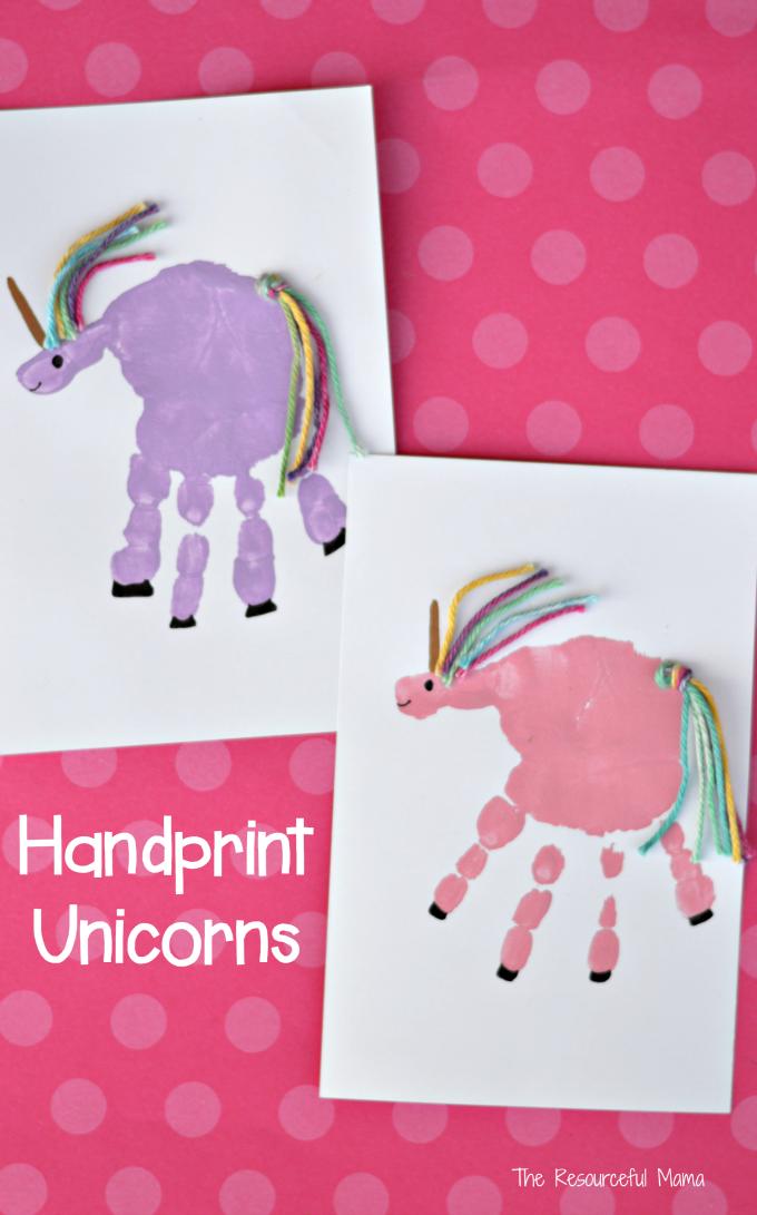 Handprint unicorn craft unicorn crafts children s and for Unicorn crafts for kids