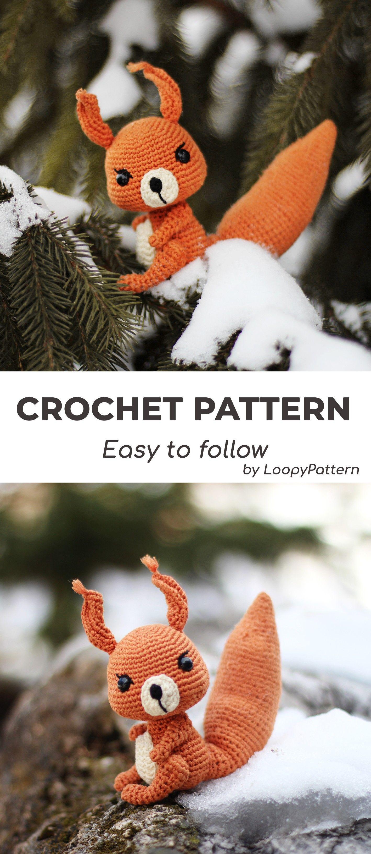 SQUIRREL crochet PATTERN woodland creature pdf mini