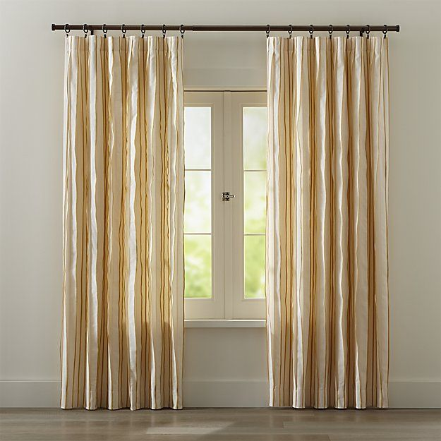 kendal 50 x84 yellow striped curtain panel crate and barrel home design striped curtains. Black Bedroom Furniture Sets. Home Design Ideas