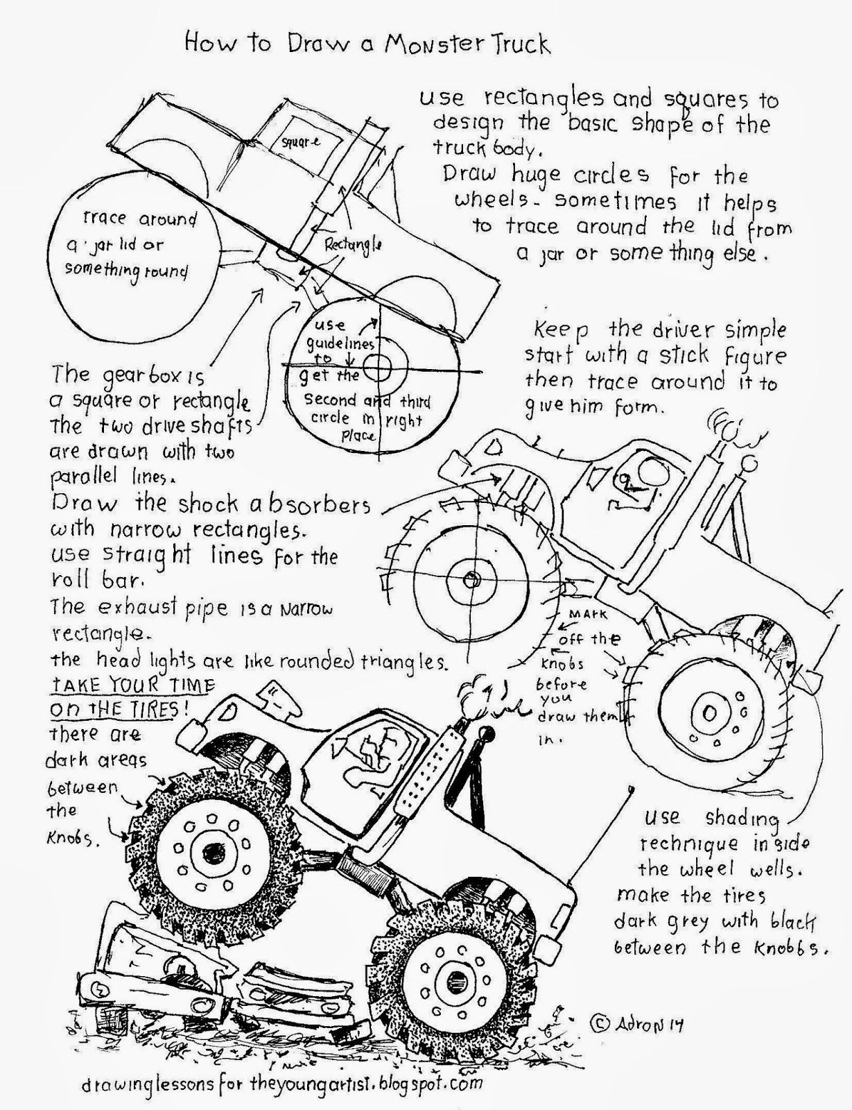 How to Draw Worksheets for The Young Artist: How to Draw A Monster Truck Worksheet