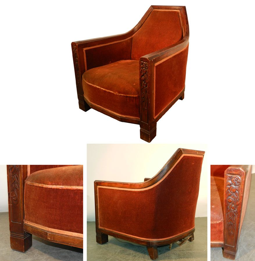Ad 767 Travail Francais Elegant Fauteuil Art Deco En Acajou Fauteuil Art Deco Art Deco Deco