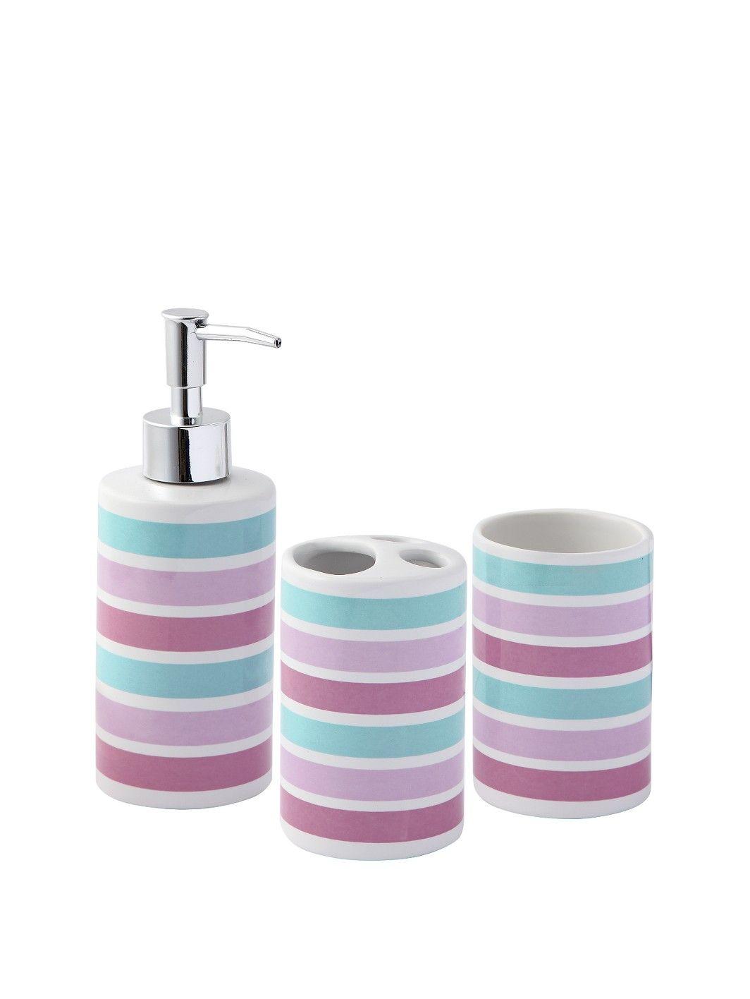 Ink Blossom 3-Piece Bathroom Accessory Set | very.co.uk | Bathroom ...