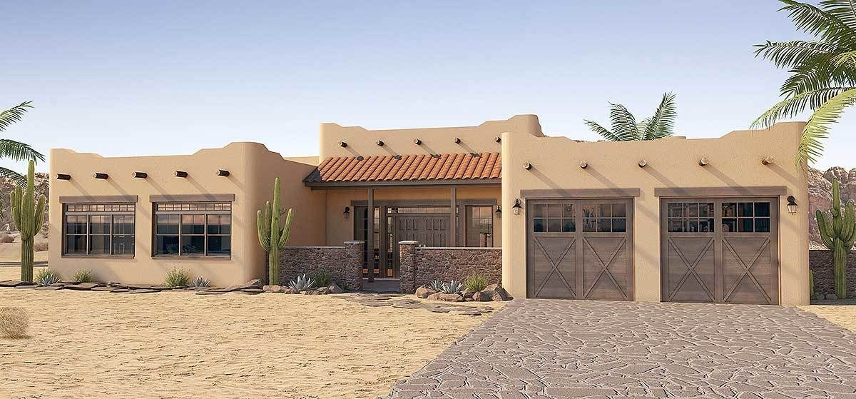 Plan 6793mg Adobe Style House Plan With Icf Walls Southwest House Adobe House House Designs Exterior