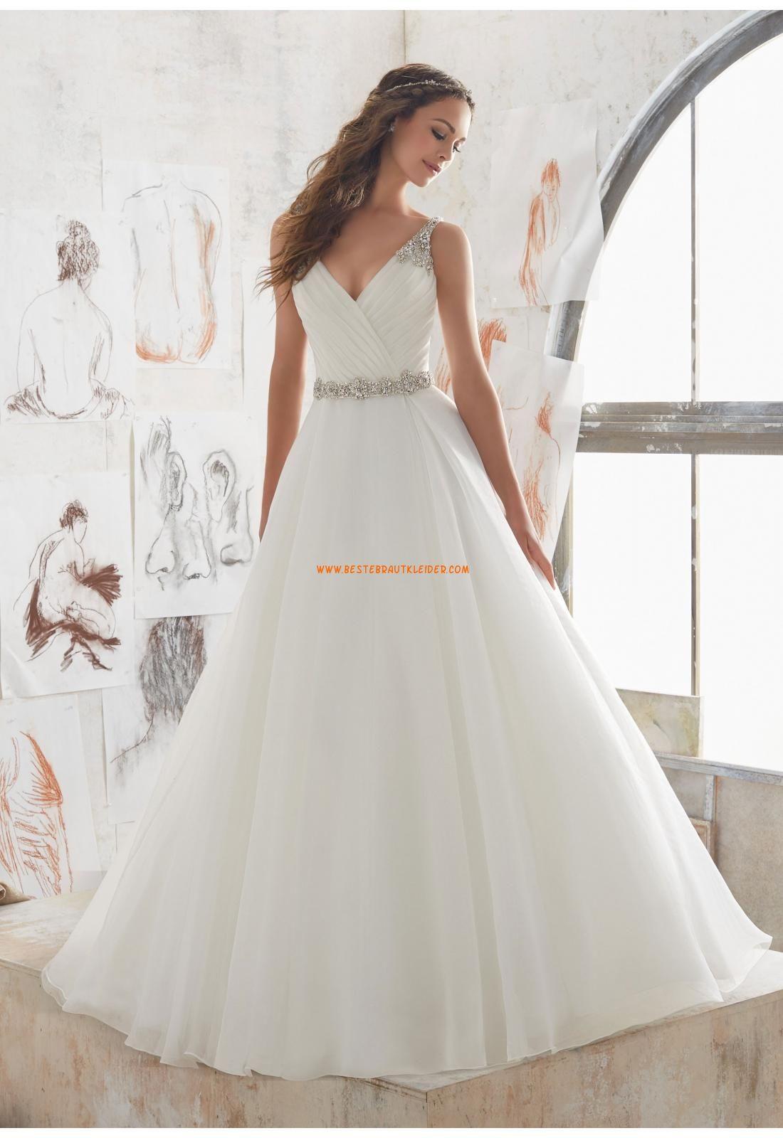 A-linie V-ausschnitt Moderne Brautkleider aus Organza mit ...