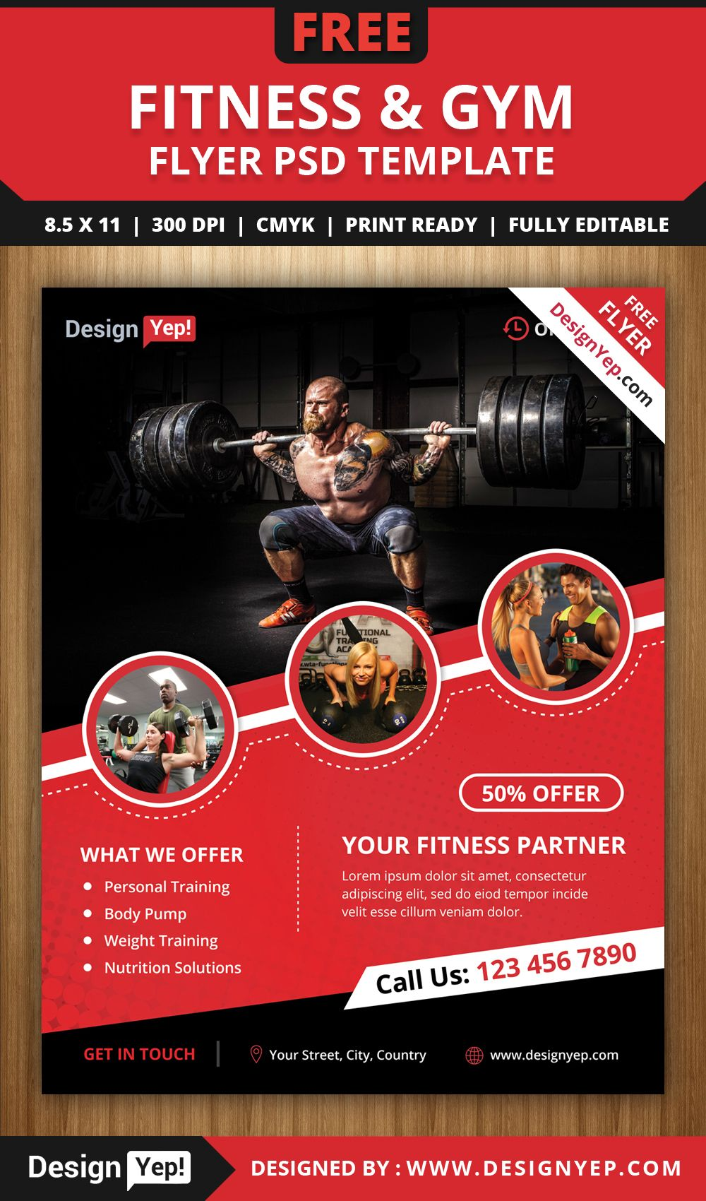 Free fitness gym flyer psd template free flyers for Fitness brochure template