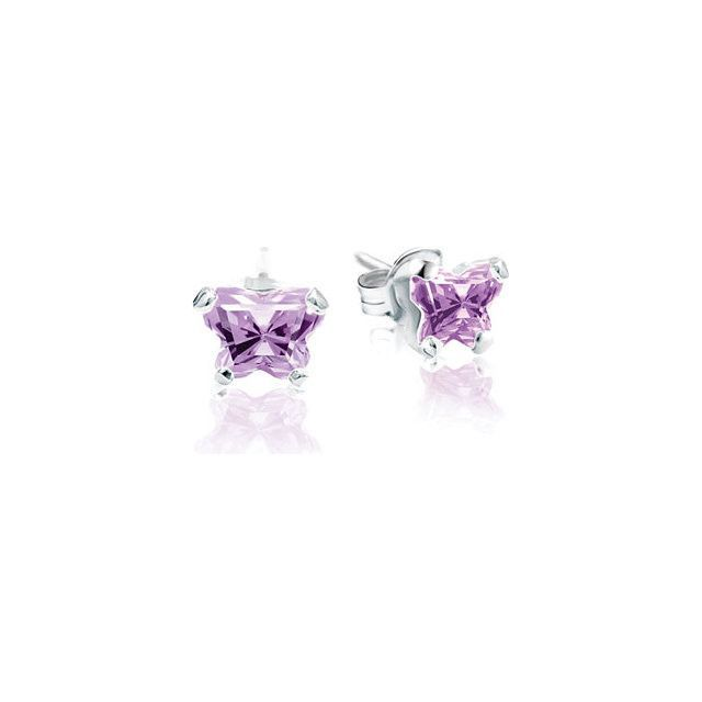 Sterling Silver August Bfly® CZ Birthstone Youth Earrings with Friction Backs and Box